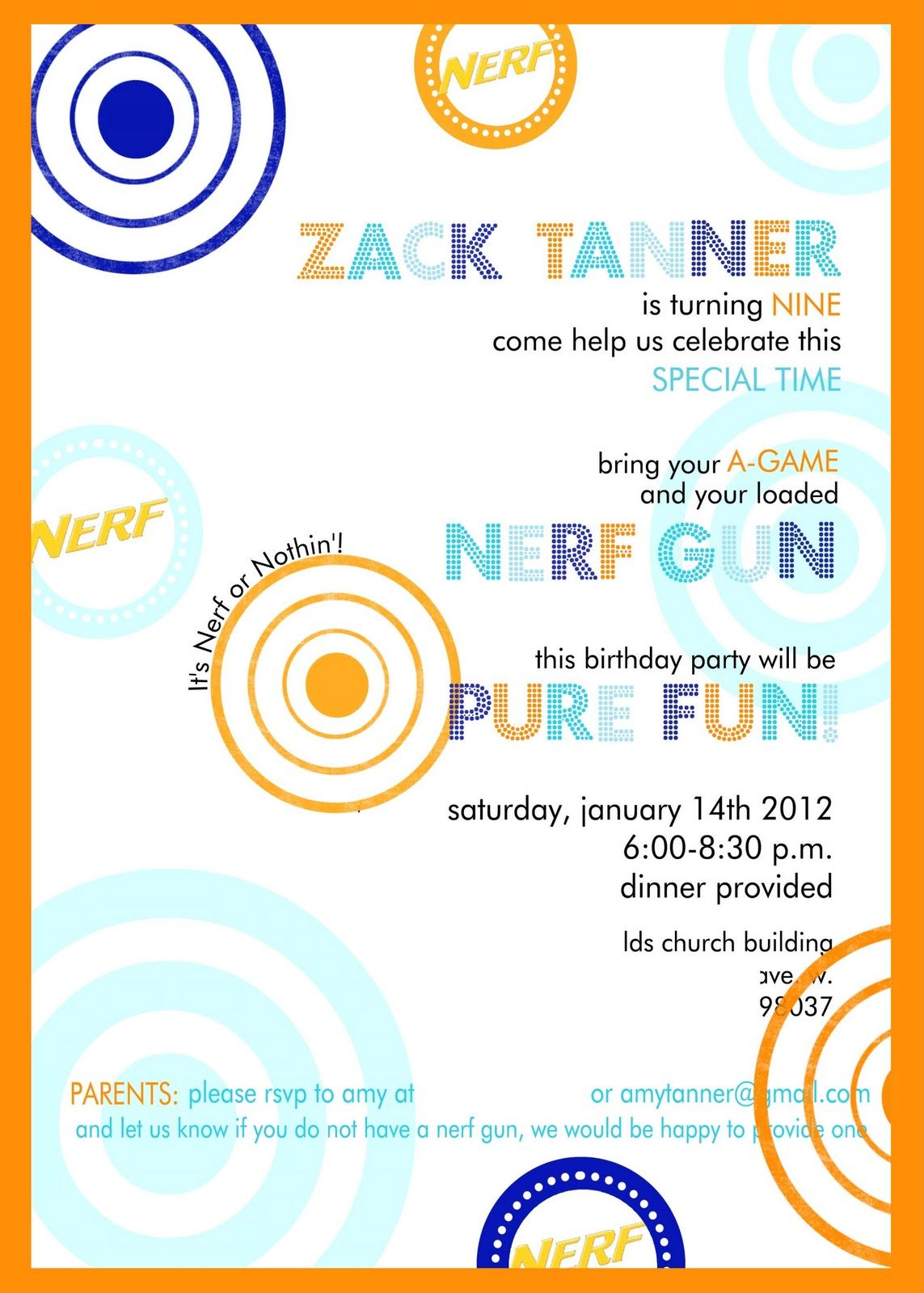 Nerf Party Invitation | Caleb\'s 9th Birthday | Pinterest | Nerf ...
