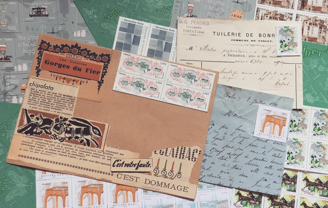 aking mail art out of scraps & vintage invoices. Now to