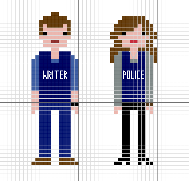 Castle cross stitch based on the pixel people