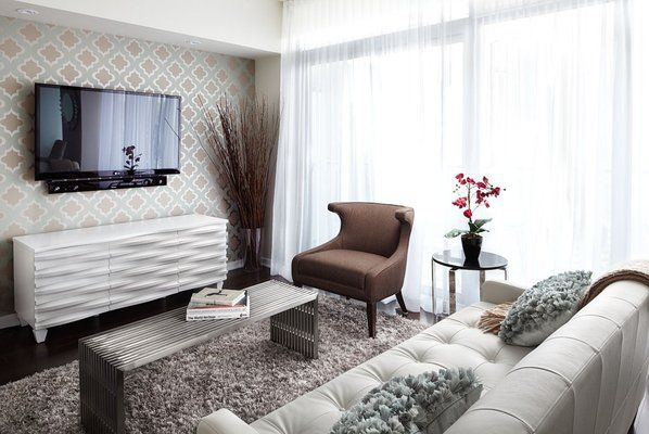 Contemporary, Open Concept Living Room With White Furniture And Drapery,  Chrome Table And Geometric Wallpaper   LUX Design
