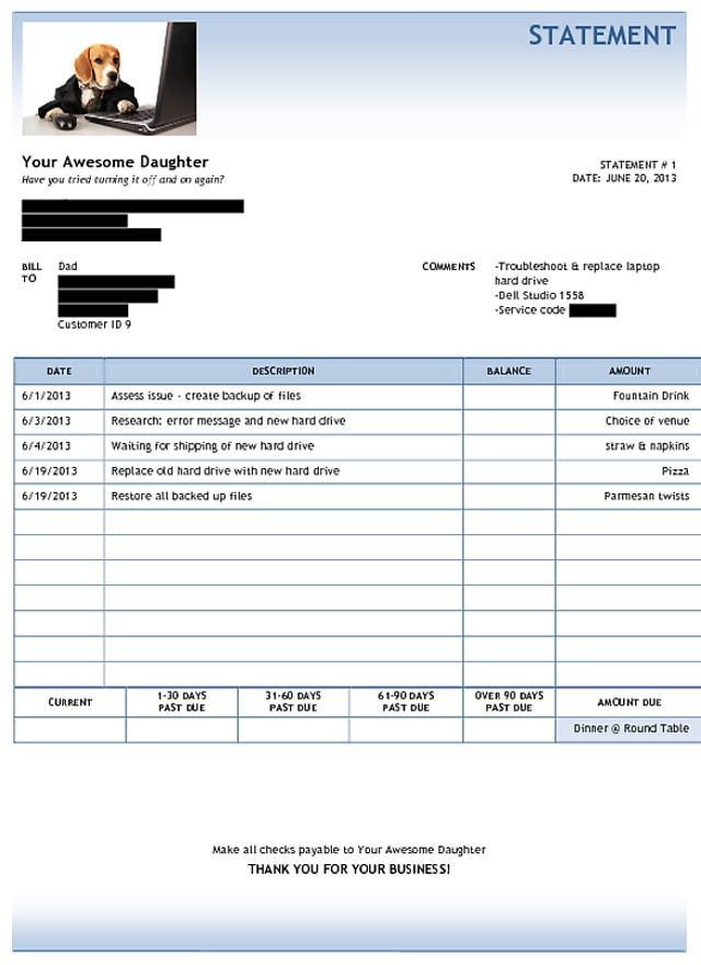 Awesome Daughter Fixes Dadu0027s Computer, Sends Him Equally Awesome - computer invoice