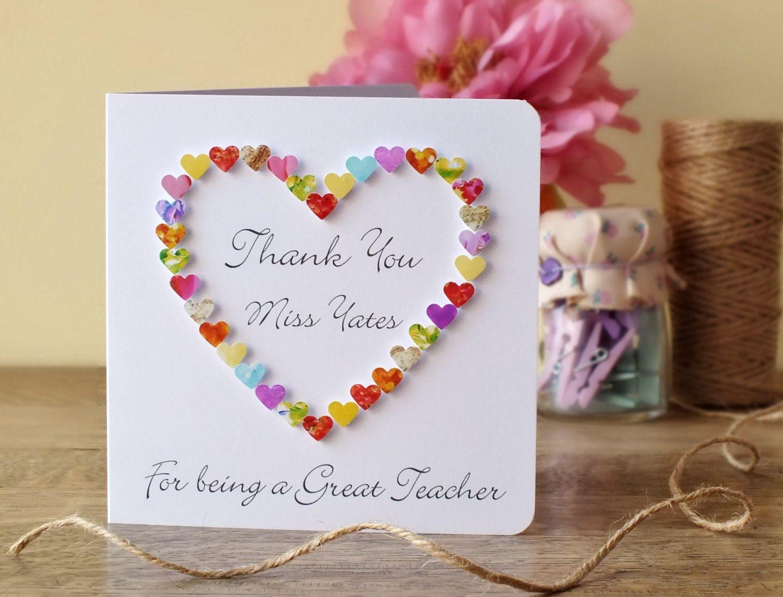 Thank You Teacher Card Thank You For Being A Great Teacher Card