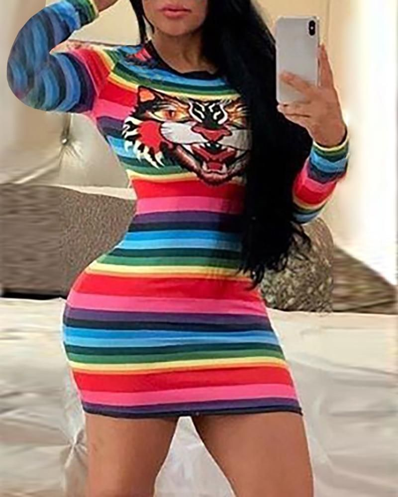 Rainbow Striped Tiger Pattern Bodycon Dress Casuallook Fall Rainbowstriped Slim Wom Bodycon Dress Pattern Fashion Clothes Women Summer Outfit Inspiration [ 1000 x 800 Pixel ]