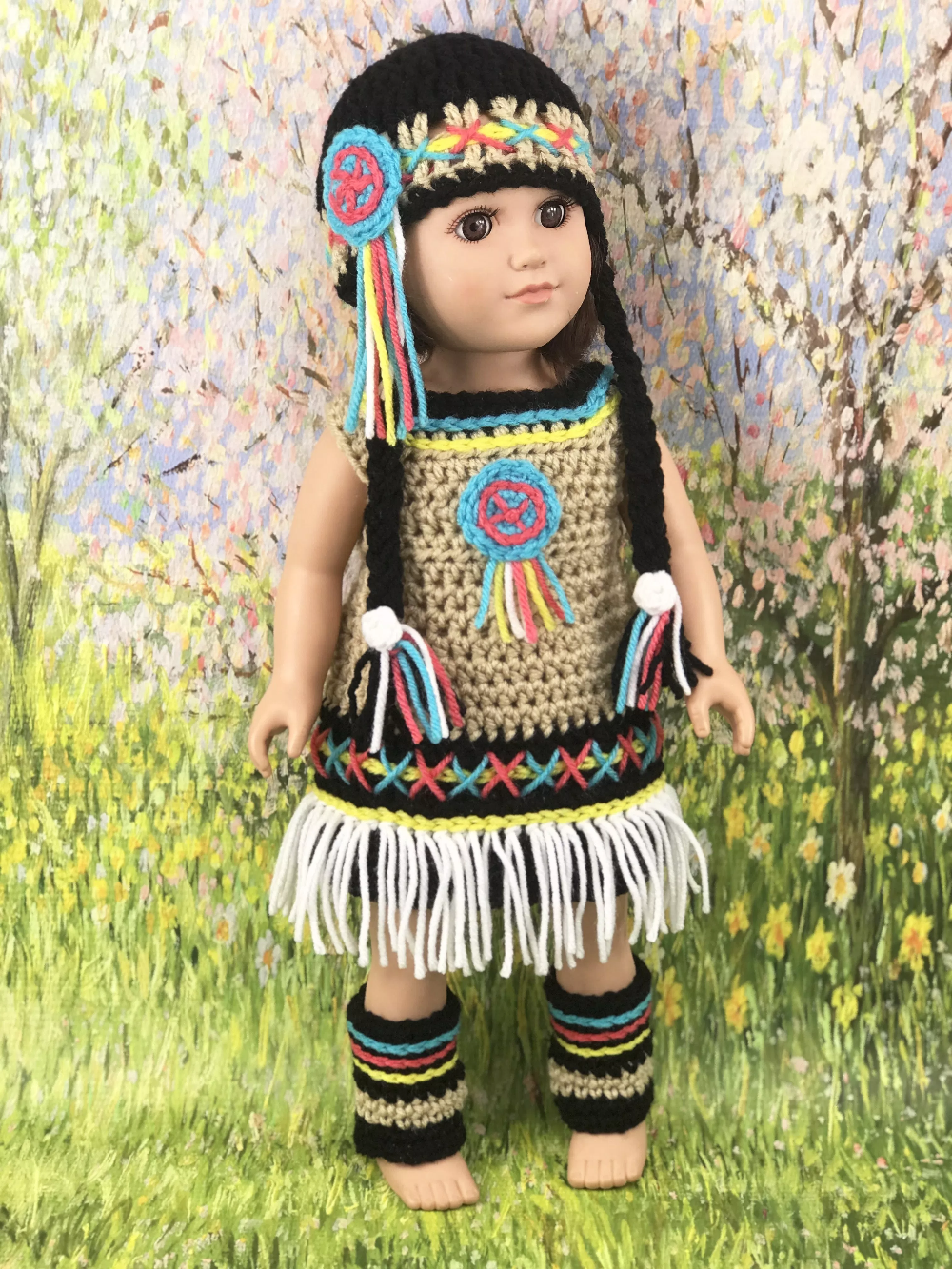 Native American Crochet Pattern - Adoring Doll Clothes #indianbeddoll