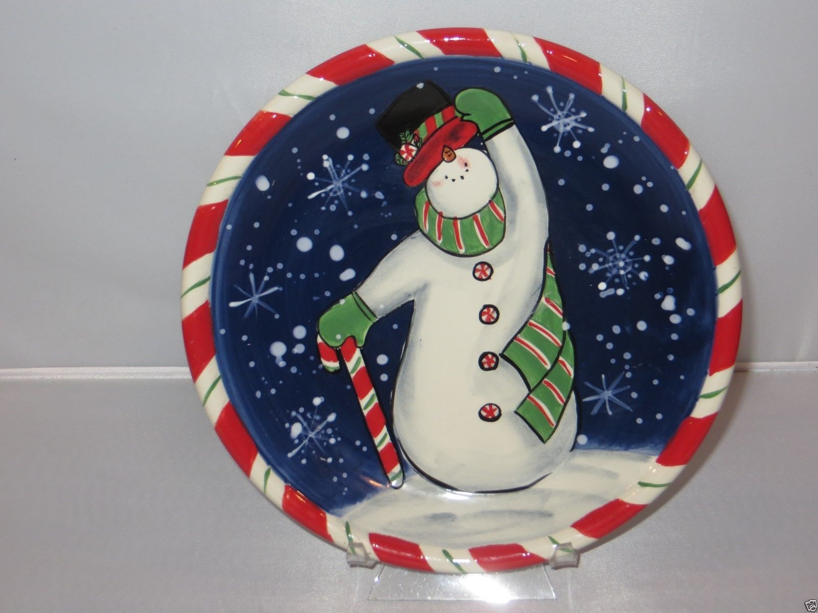 Certified Intl Susan Winget COBALT BLUE SNOWMAN WITH TOP HAT Candy Cane Plate