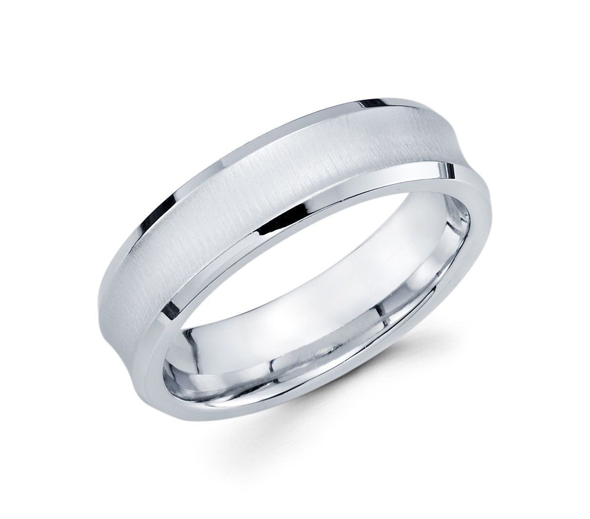 14k White Gold Brushed Finish With Concave Design And Polished Edges 6mm Modern Wedding Band For: Concave Brushed Wedding Band At Websimilar.org
