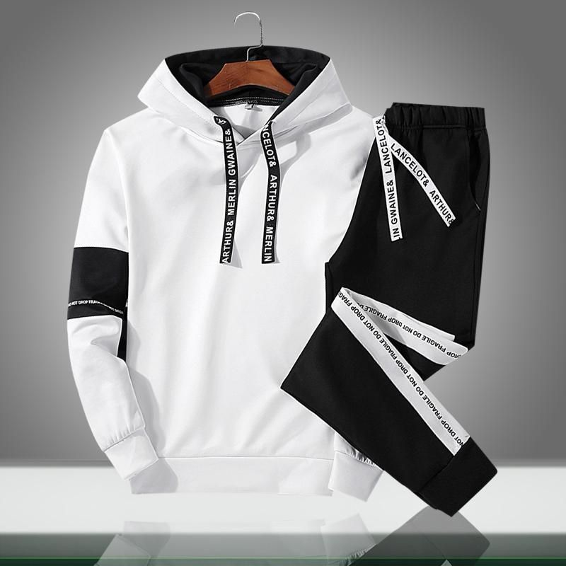 Mens Autumn Winter Packwork Print Sweatshirt Top Pants Sets Sport Suit Tracksuit