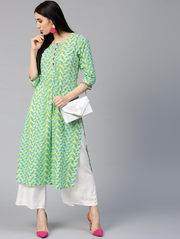 69186058a Buy Jaipur Kurti Women Blue   Green Printed Straight Kurta - Kurtas for  Women 5571465