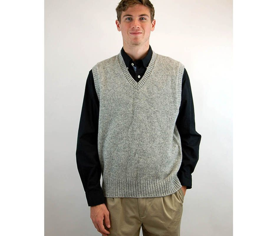 Mens wool vest sweater vest Shetland wool sleeveless sweater gray ...