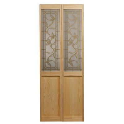 Pinecroft 30 In X 80 In Glass Over Panel Tuscany Universal Reversible Interior 1 2 Lite Decorative Wood Bi Fold Door 871926 The Home Depot Glass Bifold Doors Bifold Doors Bifold Door Hardware
