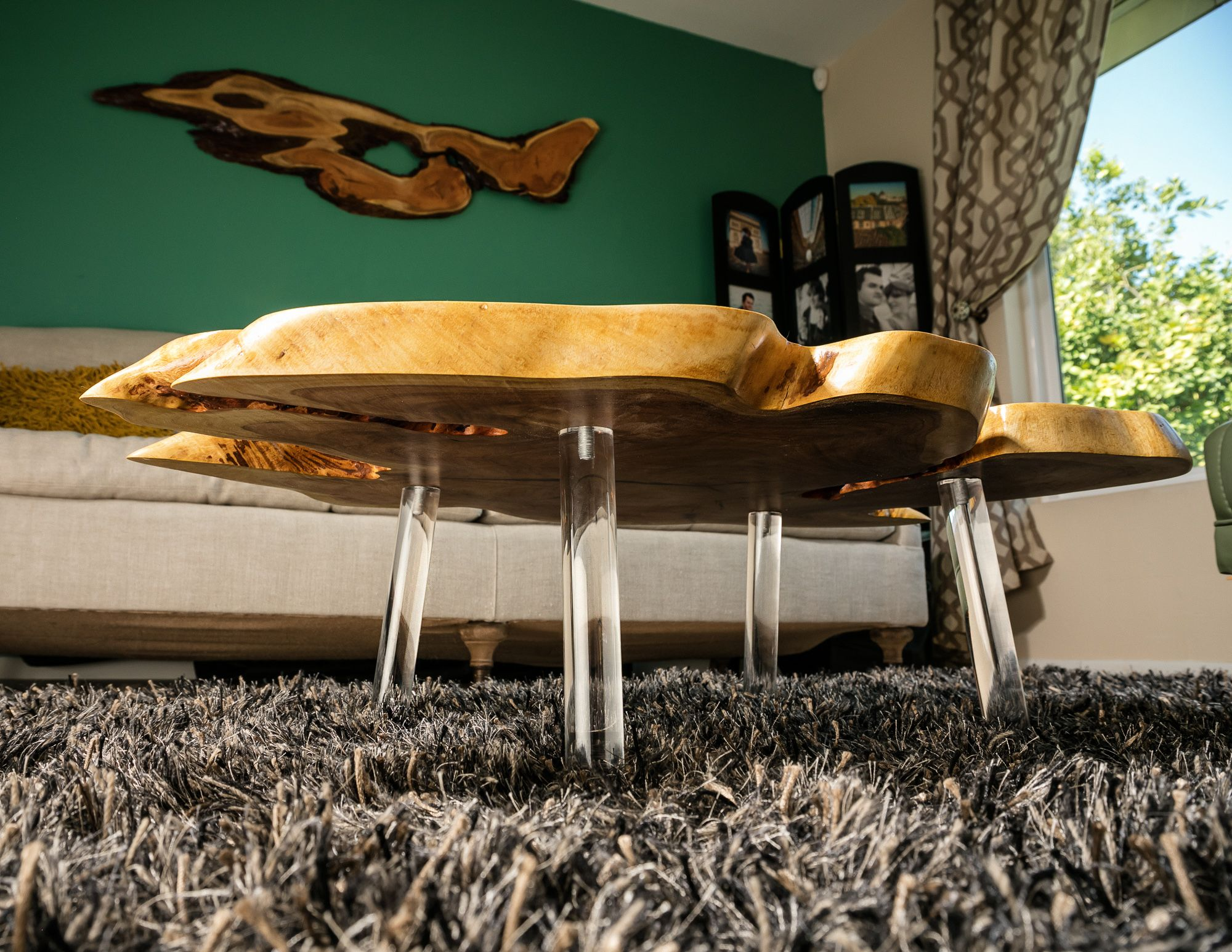 "Giant Mesquite ""floating"" Coffee Table w Lucite Legs"
