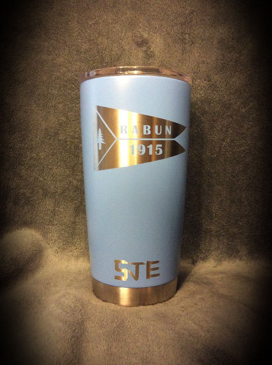 Calcutta  20 oz. mug coated with Duracoat Sky Blue  with custom logo.