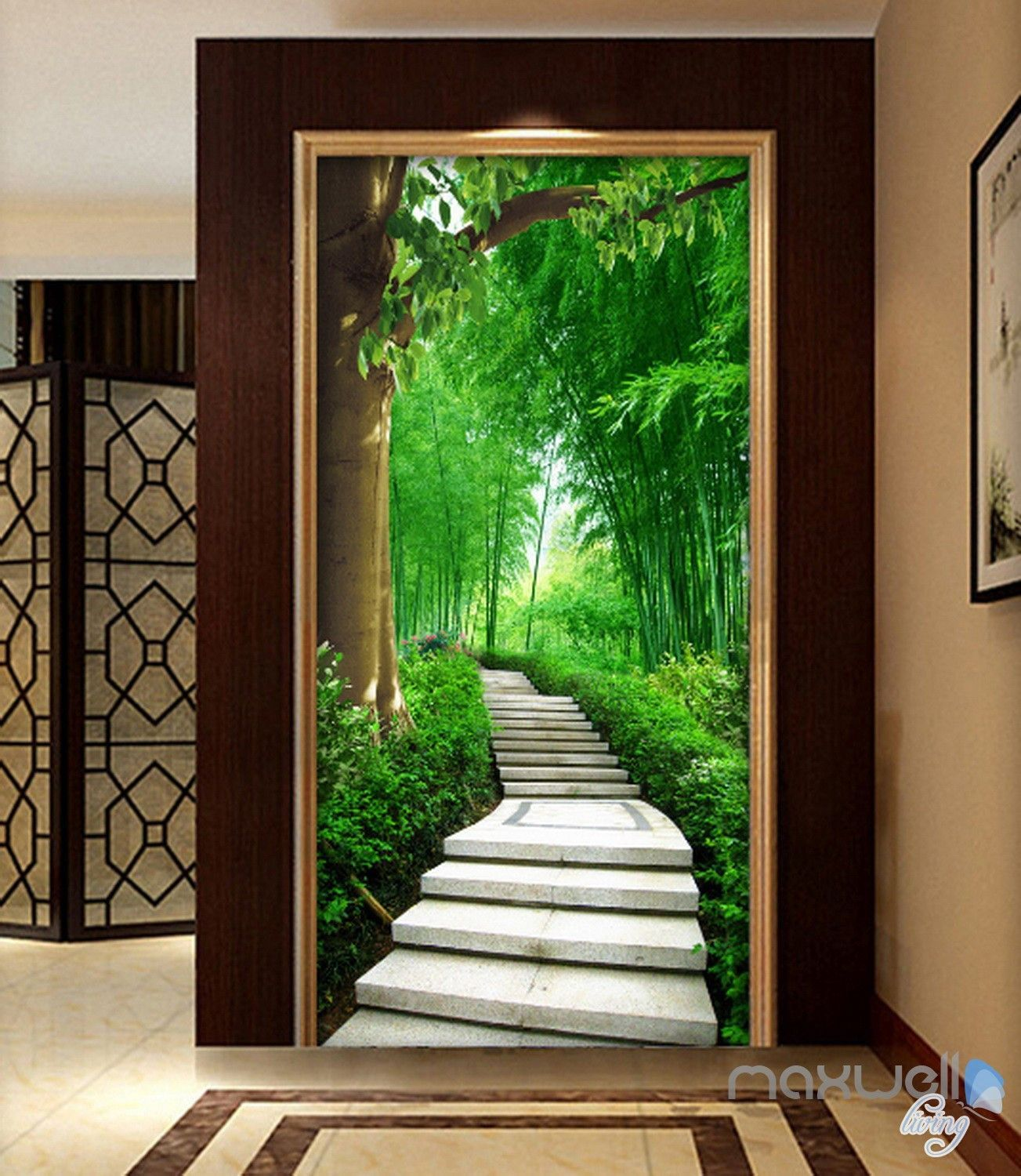 3d forest lane tree corridor entrance wall mural decals on wall murals id=27228