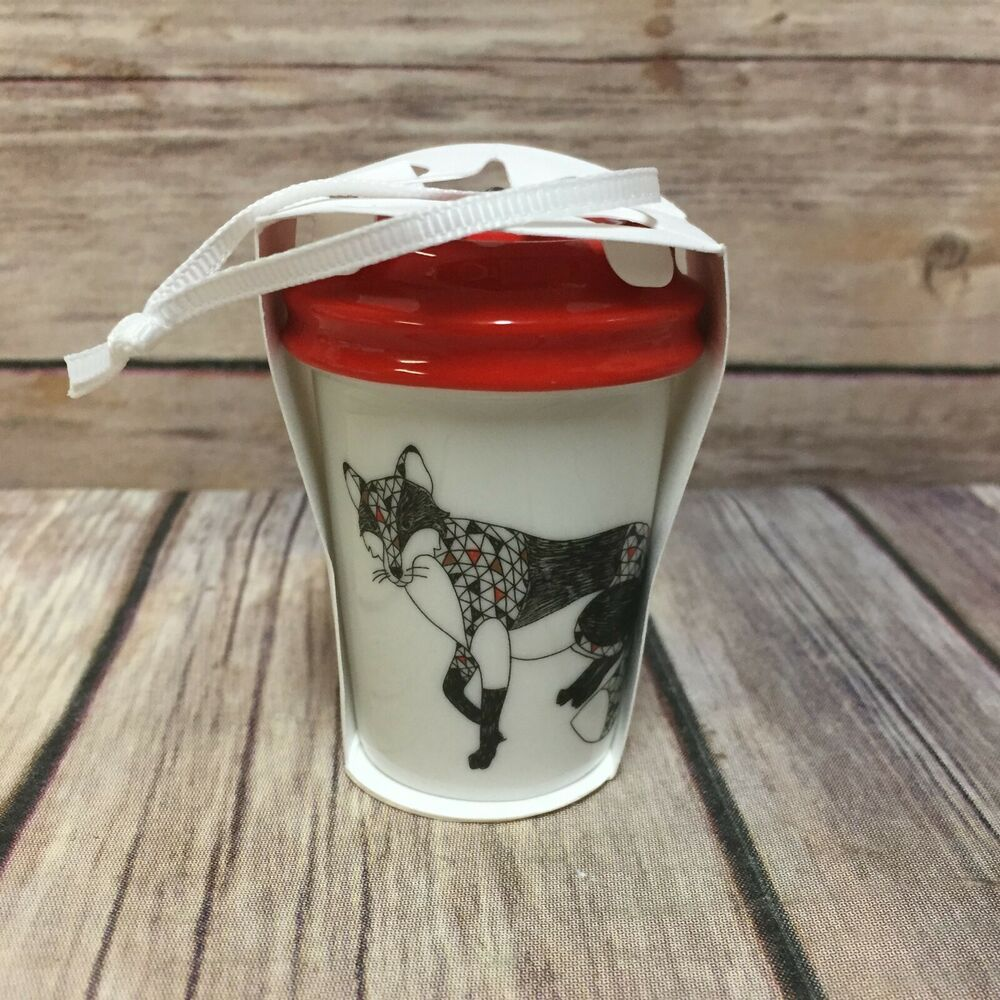 Starbucks Fox Christmas Ornament To Go Cup 2017 New