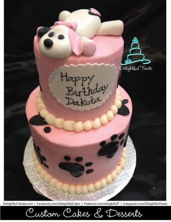2 Tier Butter Cream Cake With Fondant Puppy And Paw Prints For A Baby Girl Birthday Delightful Treats