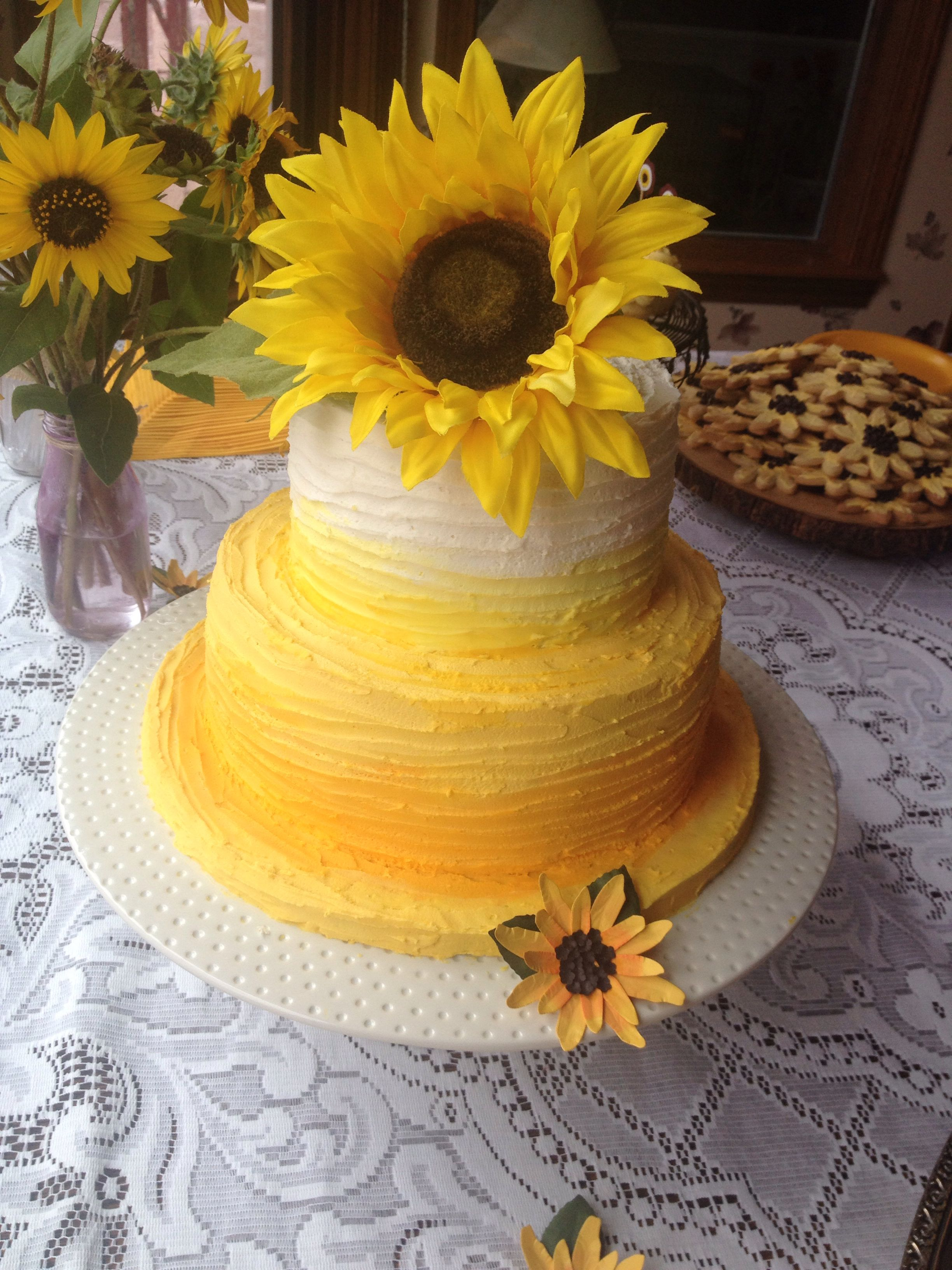 yellow ombr sunflower cake for a sunflower bridal shower