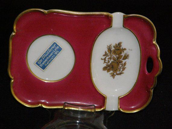 Vintage Ceramic Porcelain Bavaria Germany Cigarette Tray 24k