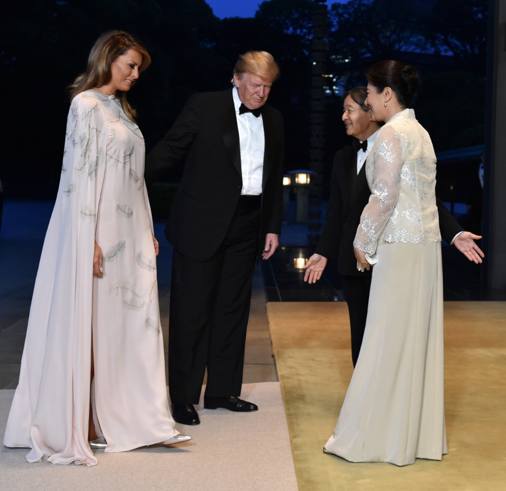 Fashion Notes Melania Trump Is Whimsical In Feather Embroidered Gown Melania Trump Wedding Dress Trump Wedding Dress Embroidered Gown