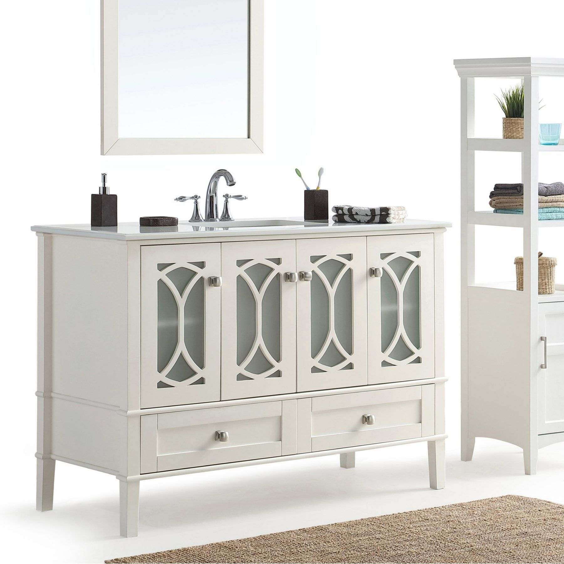 Simpli Home Paige 48 in. Bath Vanity with White Quartz Marble Top - AXCVPAW-48