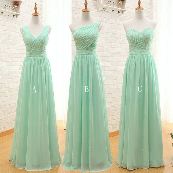 Mint Green Long Chiffon Bridesmaid Dress 2019 A Line Pleated