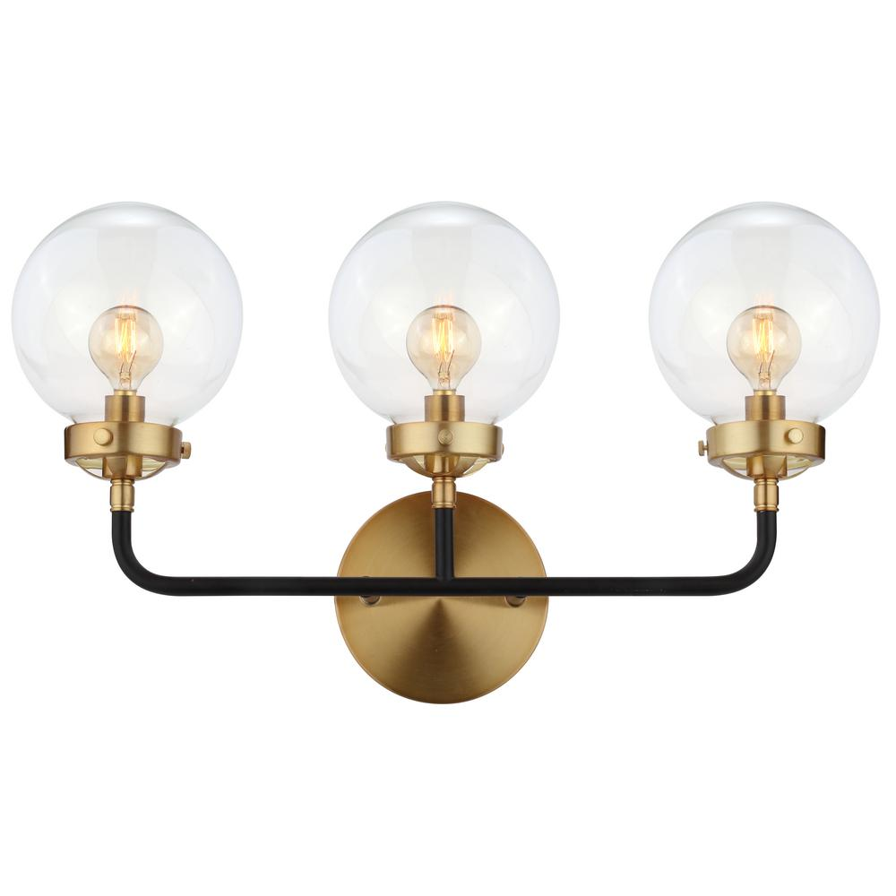 Jonathan Y Caleb 22 In 3 Light Black Brass Wall Sconce Jyl9011a The Home Depot Contemporary Wall Sconces Brass Wall Sconce Wall Sconces