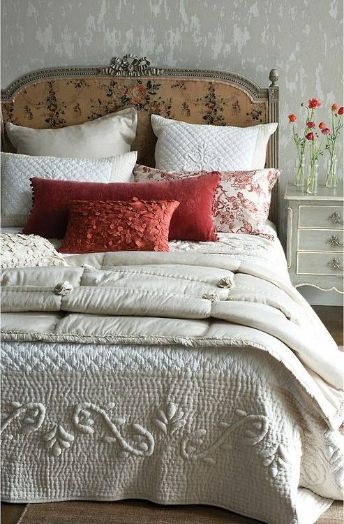 #prettyloving #headboard #inviting #blanket #pillows #covers #bedso #such #all #the #an #it~such an inviting bed~so pretty~loving it all~ the headboard, covers, blanket, & pillows~
