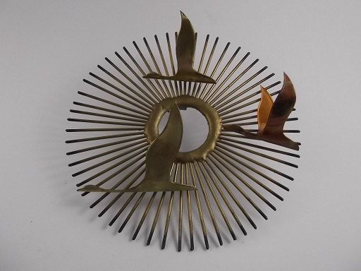Catching Rays   Vintage 3D Mid Century Modern Brass Copper Wall Hanging  Sculpture Art   Atomic