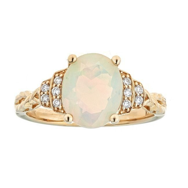 Anika and August 10k Yellow Gold Ethiopian Opal and 1/10ct TDW Diamond Ring