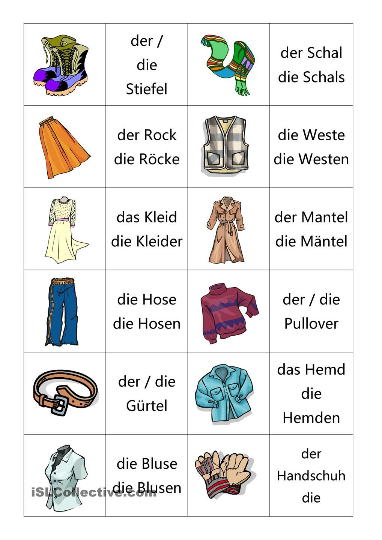 Memory Kleidung | Német | Pinterest | German, Learn german and ...