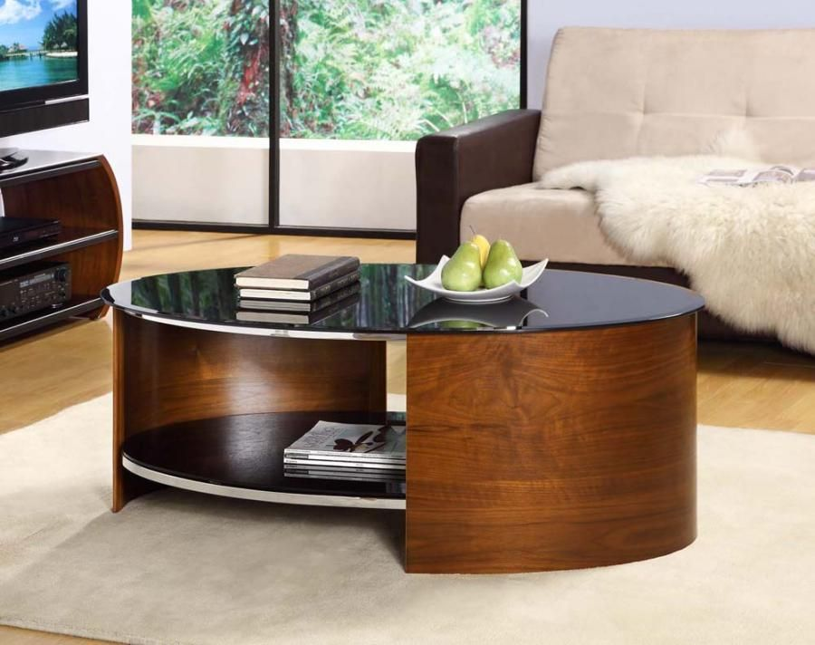 Curve Oval Walnut Veneer Black Glass Coffee Table Contemporary