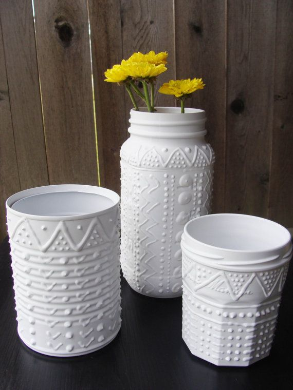 instant collection upcycled containers white faux porcelain pottery diy gl ser dosen. Black Bedroom Furniture Sets. Home Design Ideas