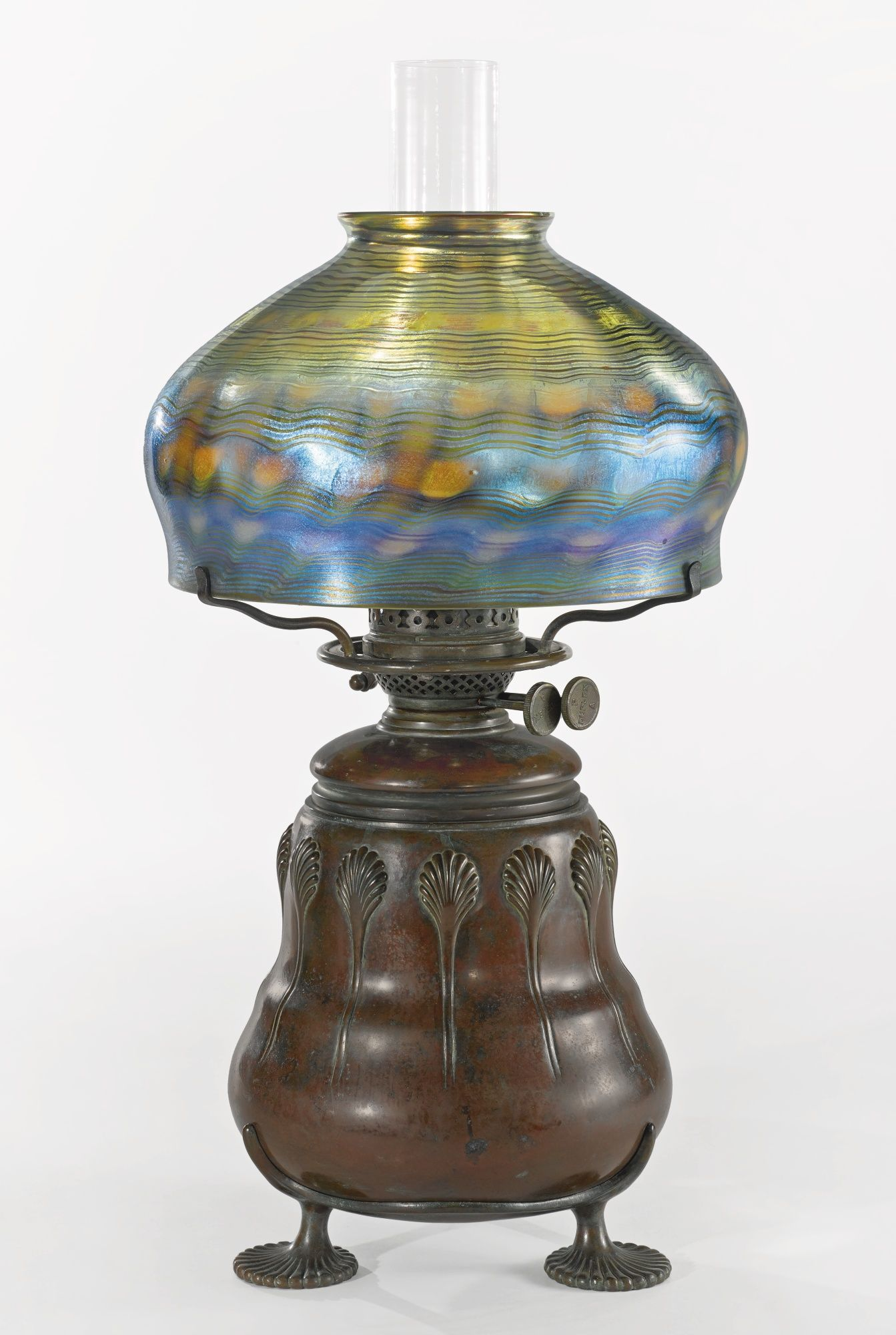 Tiffany studios an early oil table lamp shade engraved s5183 tiffany studios an early oil table lamp shade engraved s5183 underside of oil font impressed geotapseo Gallery