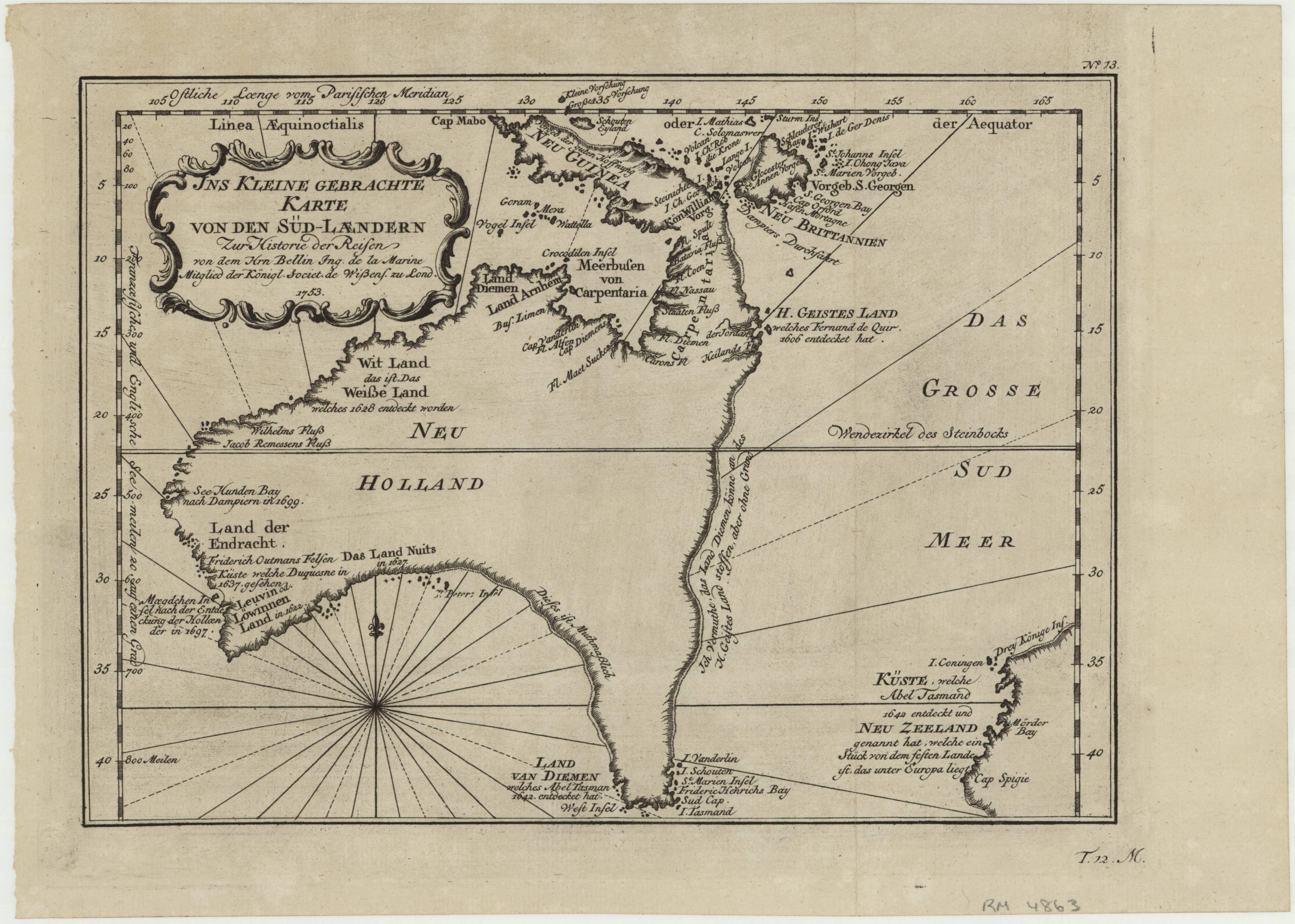 1753 Ins Kleine Gebrachte Karte Von Den Sud Laendern Zur Historie Der Reisen Map Of Australia Showing A Completed Hypothetical E Australia Map Map Nicolas