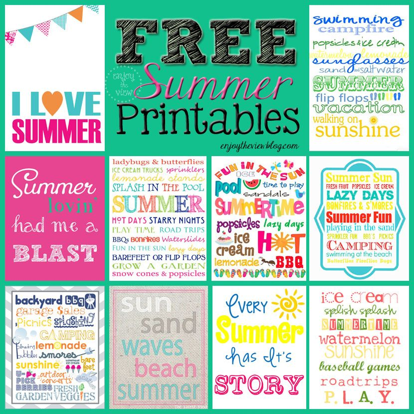 Free Summer Printables Round Up With Images Summer Printables