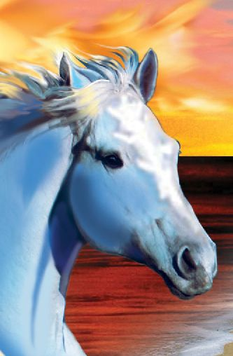A horse of a different color: The MoonQuest book cover's dawn- and dusk-hued horses are the true colors of Rykka and Ta'ar, the story's equine stars (who also appear in The SunQuest). This link takes you to a MoonQuest excerpt. http://bit.ly/wTsOwq
