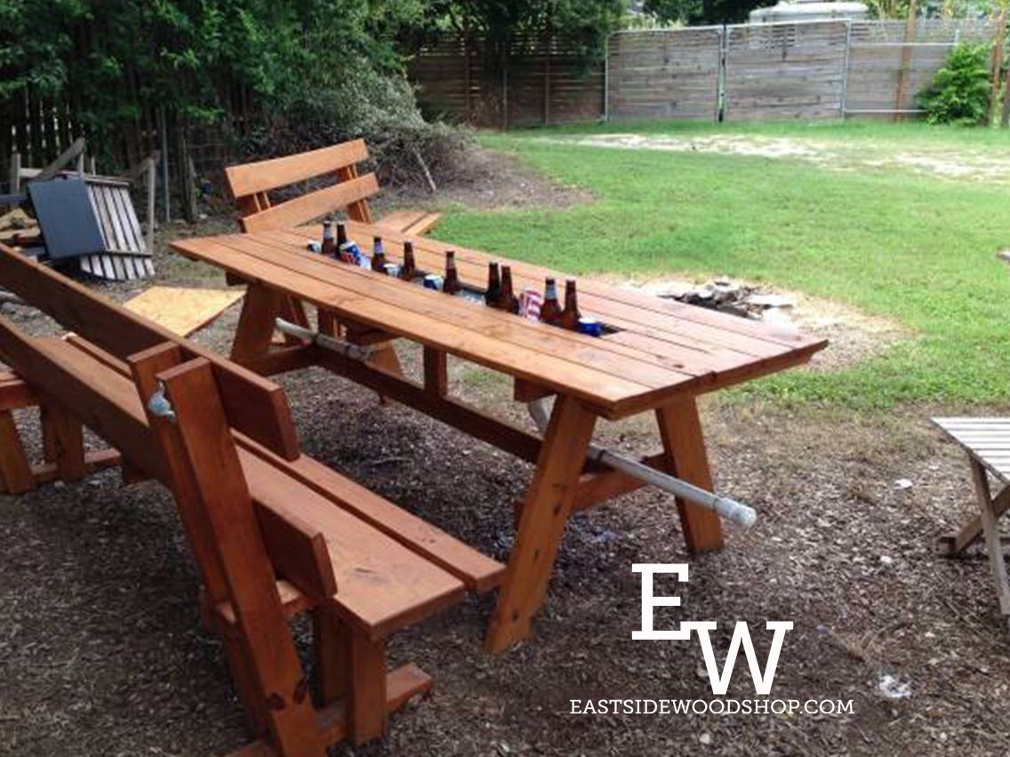 Stained Table Features Ice Trough With Drainage System And Pressure - Treated lumber picnic table