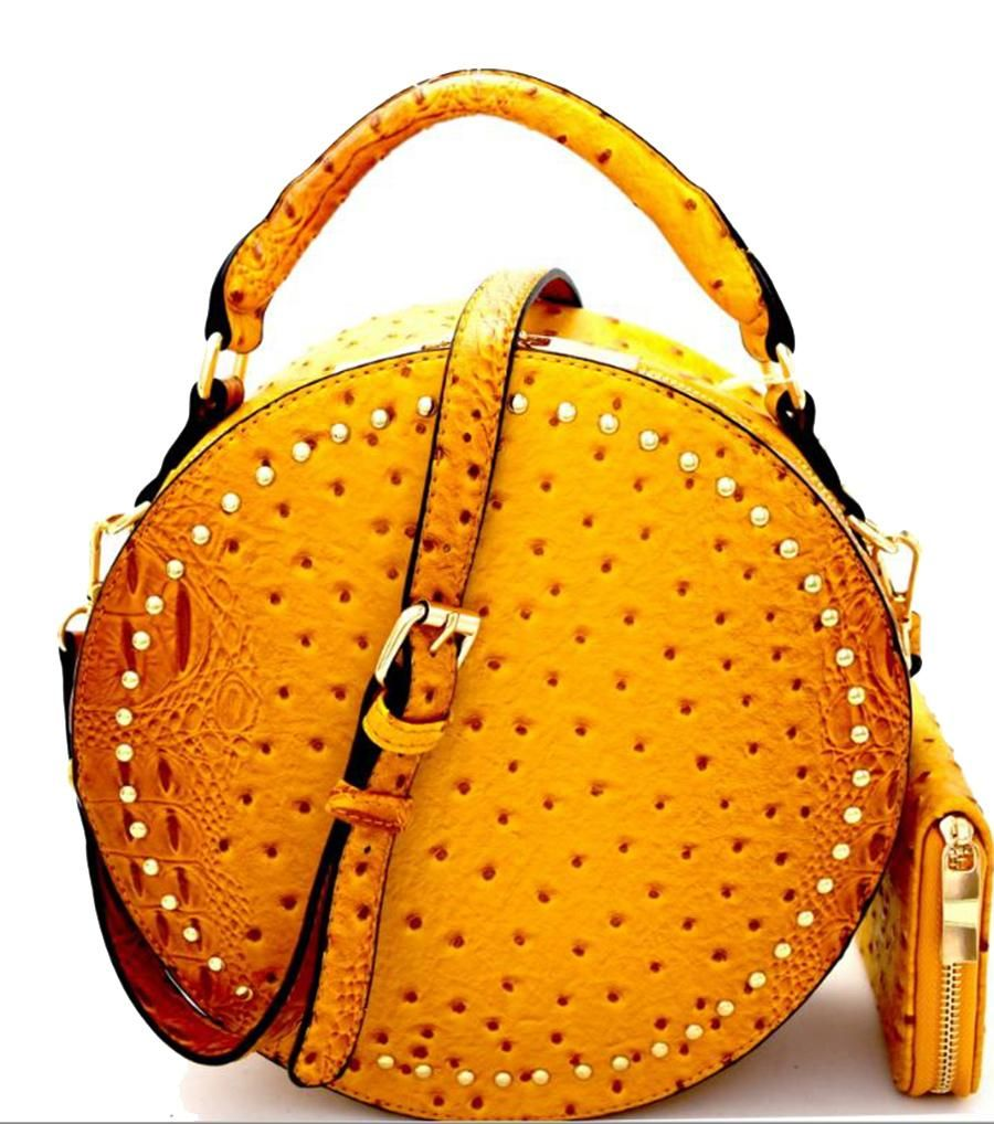10188489b6 This rich golden faux ostrich bag will have you standing out wherever you  go! Carry by the handle or attach the included strap to make ...