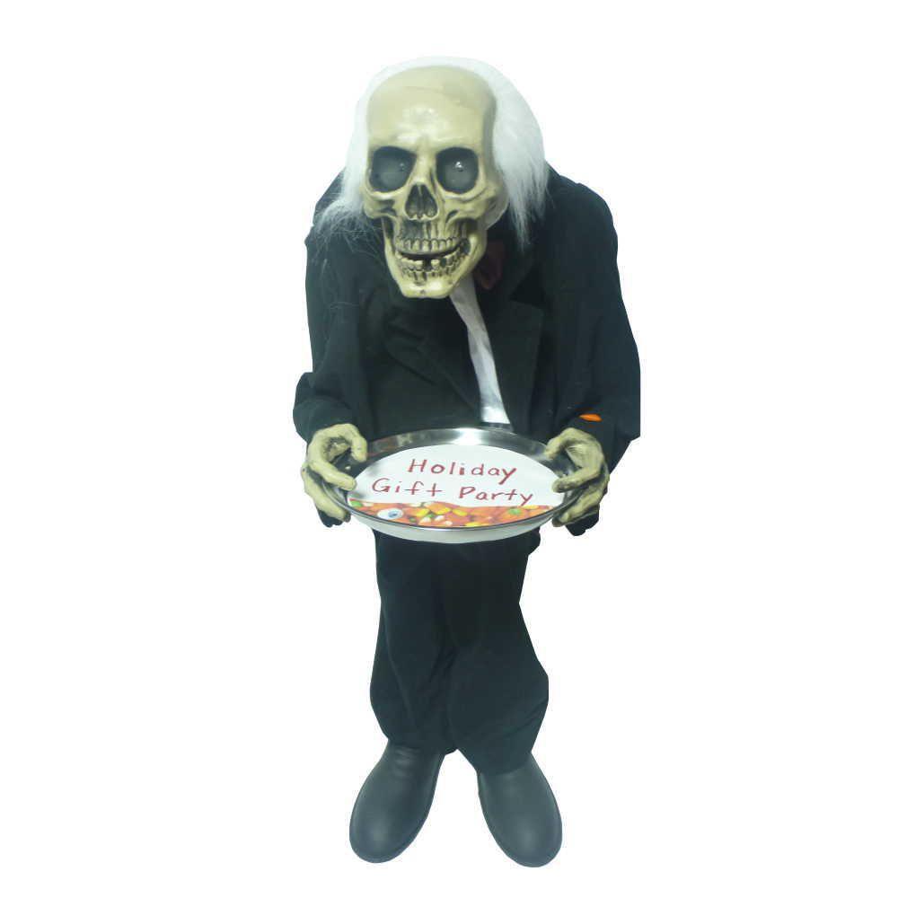 36 Inch Standing Bobble Head Skeleton Butler Sound