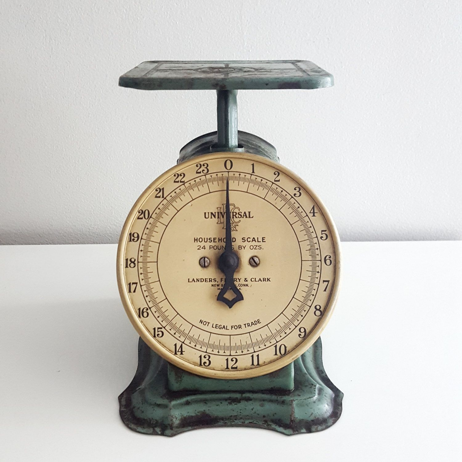 Vintage Kitchen Scale   Universal Household Scale   Turquoise Green Kitchen  Scale   Farmhouse Primative Metal