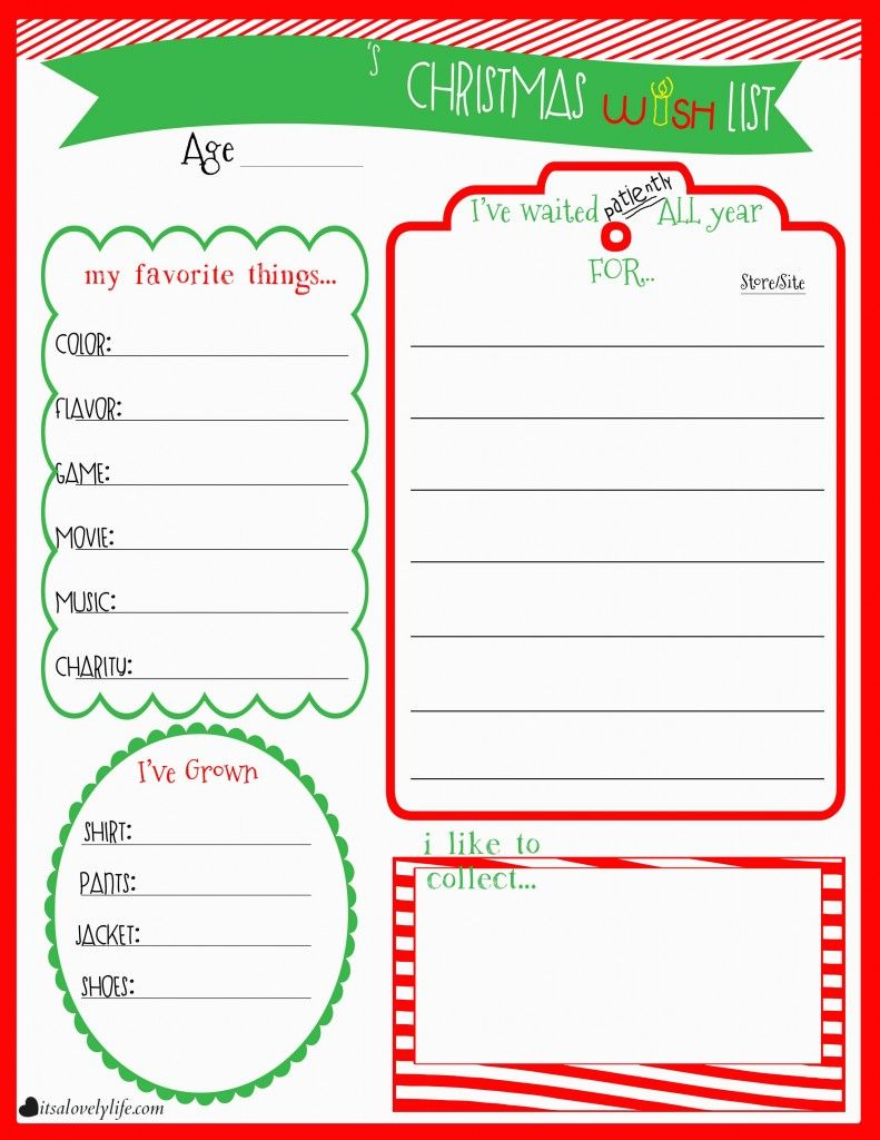 Childrens Christmas Wishlist Printable Christmas Ideas