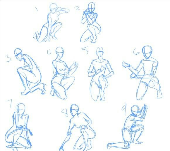 Body Positions Fighting Stances Text Kneeling How To Draw