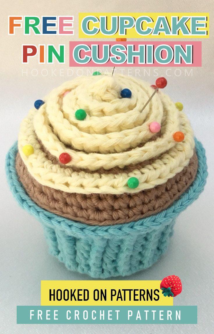 Free Cupcake Pin Cushion Crochet Pattern Stitch Virkning Virka