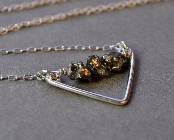 Potamoi Necklace Short Version Rough pyrite gemstones by Epheriell, $62.00