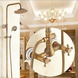 Luxury Wall Shower Set Antique Copper Bath Faucet With Shower Best