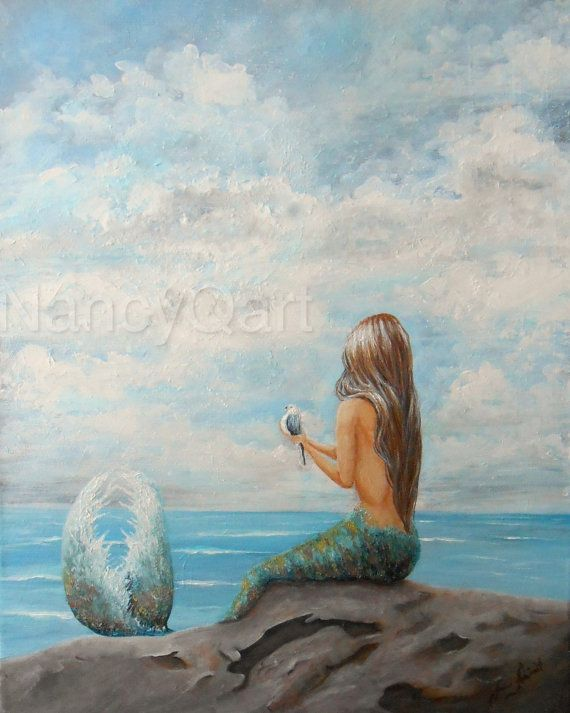 Orignal Mermaid Painting Mermaid Sitting On Rock Canvas 16x20