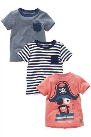 6b3ed00c9d Buy Pirate T-Shirts Three Pack (3mths-6yrs) from the Next UK online ...