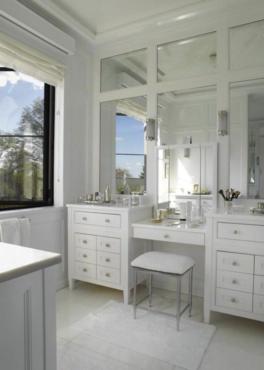 Custom Bathroom Vanity Legs double vanity & make-up vanity design | paneled mirrors | master
