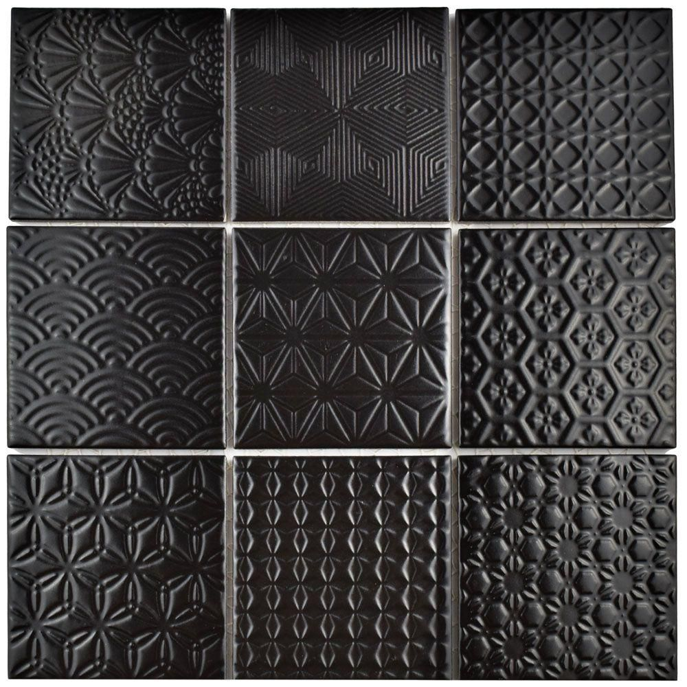 Merola Tile Spirit Black 11 5 8 In X 11 5 8 In X 6 Mm Porcelain Mosaic Tile Ftc4spbk Porcelain Mosaic Tile Porcelain Mosaic Mosaic Flooring