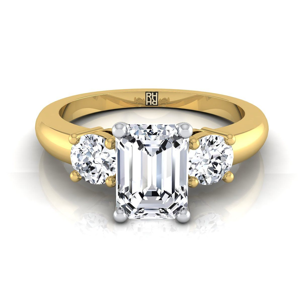 adc89ddeafeb4 Diamond 3 Stone Engagement Ring With Emerald Cut Center And Round ...