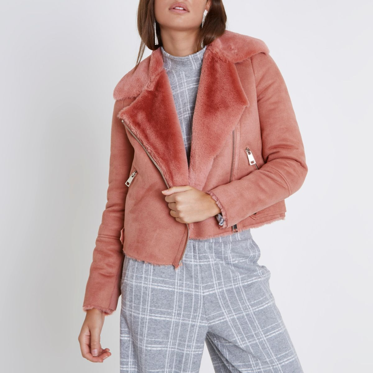 af2d5e5a Pink faux shearling biker jacket - Jackets - Coats & Jackets - women ...